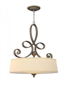 Rustic Style Curved Iron Holder Fabric Pendant Light