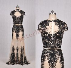DETAILS: material :tulle ,applique ,beads back :zipper dress length :long length note:built in bra and bones the dress custom the dress color ans size