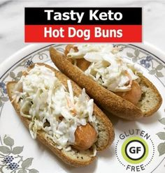 Description Enjoy hot dogs to their full potential with these Keto Hot Dog Buns. They are super easy to make and ready in under 20 minutes from start to finish! They are not only a healthy alternative to your typical hot dog bun but are… Gluten Free Hot Dogs, Gluten Free Buns, No Carb Recipes, Hot Dog Recipes, Chilli Dog Bake, Dog Bread, Keto Buns, Grain Free Bread, Low Carb Bread