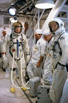 Gemini 8 astronauts Neil Armstrong and Dave Scott at Kennedy Space Center, March 11, 1966. (NASA)