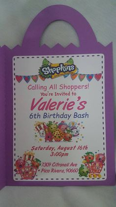 Set of 12 Shopkins Invitations