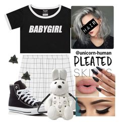 """Untitled #1578"" by unicorn-human ❤ liked on Polyvore featuring Converse, MCM, Sephora Collection and pleatedskirts"