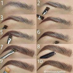 Make Up; Look; Make Up Looks; Make Up Augen; Make Up Prom;Make Up Face; Makeup Steps # makeup eyebrows how to get Eyebrow Makeup Tips, How To Do Makeup, Makeup Guide, Eyeshadow Makeup, Lip Makeup, Eyeliner, Makeup Eyebrows, Makeup Tools, Plucking Eyebrows