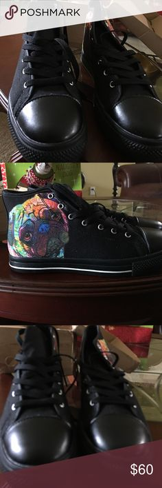 Black high tops Black high tops with Pug dog art Shoes Sneakers