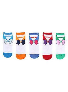 "<p><span id=""webDesc"">Five pairs no-show socks from <i>Sailor Moon</i> with cosplay style uniform designs.</span></p>  <ul> <li>98% polyester; 2% spandex </li> <li>Wash cold; dry low </li> <li>Imported</li> </ul>"