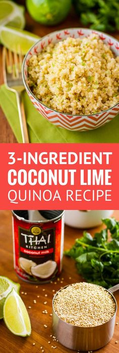 Coconut Lime Quinoa -- 3 ingredients and insanely easy prep (use your rice cooke. - Coconut Lime Quinoa — 3 ingredients and insanely easy prep (use your rice cooker or Instant Pot! Quinoa In Rice Cooker, Rice Cooker Recipes, Crockpot Recipes, Quinoa Rice, Quinoa Side Dish, Vegetarian Side Dishes, Coconut Quinoa, Lime Quinoa, Coconut Milk