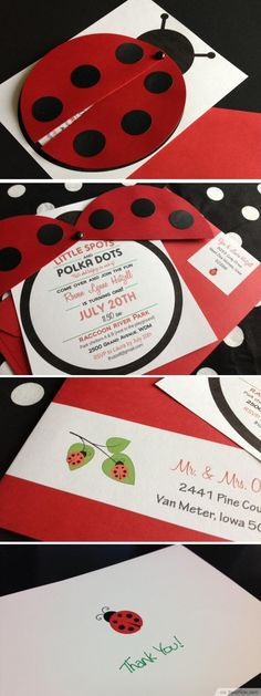 Unique Handmade Ladybug Invitation Card ❥ http://bestpickr.com/ladybug-baby-shower-invitations