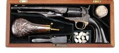 Extraordinary cased engraved Special Colt Model 1860 army percussion revolver with extremely rare ebony grips, eng. by Gustave Young in the style of engraving found on Gen. Grant's Colt. Black Powder Guns, Cowboys And Indians, Old West, Pipes, Bourbon, Hand Guns, Kentucky, Weapons, Steampunk