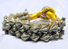antique tribal old solid silver beads bracelet cuff pounch - tribalexport