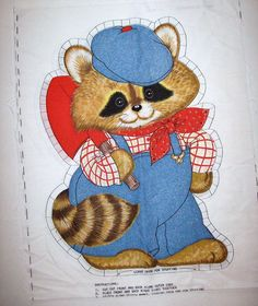 Vtg Springs Mills Prospector Country Raccoon Fabric Pillow Sewing Panel Racoon #SpringsMills