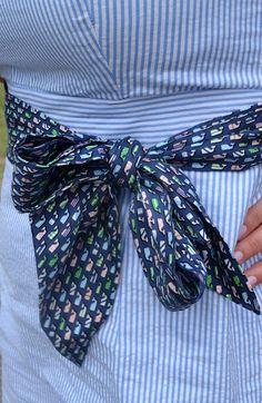 Fab idea!!! Bridesmaids wear seersucker dresses and use Vineyard Vines ties for bow belts! #seersucker #mbgdesign