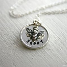 Sterling silver Bee Happy hand stamped necklace by JustJaynes, $51.25