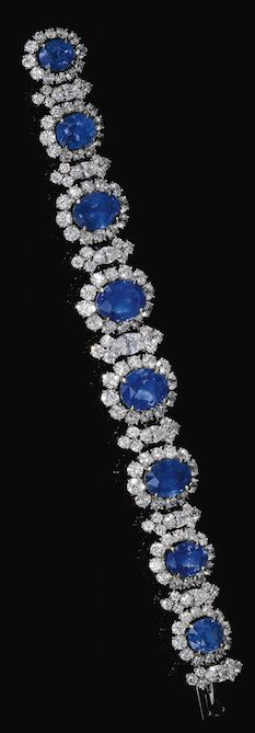 SAPPHIRE AND DIAMOND BRACELET, BULGARI, CIRCA 1965 Designed as a graduated line of oval sapphires framed with brilliant-cut and marquise-shaped diamonds, length approximately 180mm, signed Bulgari, case stamped Bulgari.