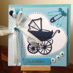 Carte félicitations naissance garçon,baptême,anniversaire,le premier landau
