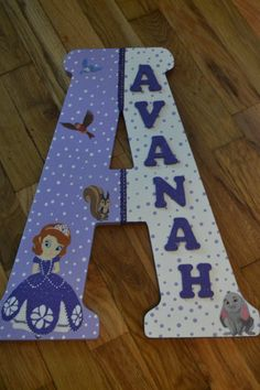 These letters are 18 inches tall. They are uniquely designed by me. Please send email on spelling of name inside of letter and the choice of 18 Birthday Letters, 2nd Birthday, Birthday Ideas, Wooden Names, Wooden Letters, Princess Sofia The First, Sofia Party, Arts And Crafts, Diy Crafts