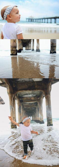manhattan beach pier, baby portraits, portraits on the beach, 1 year old photo shoot ideas