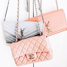 Give me alll the pretty pink bags! Chanel + YSL Yves Saint Laurent