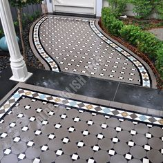 Olde English Tiles Australia - Olde English III pattern with Norwood border Porch Tile, Concrete Porch, Alexandria House, Lanscape Design, Traditional Front Doors, Front Verandah, Garden Tiles, Tile Patterns, Floor Patterns
