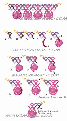 FREE Pattern for beaded necklace MACAROON. Page 2 of 2. U need: seed beads 11/0, round beads 6 mm