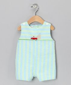 Take a look at this Turquoise Stripe Mower Seersucker Shortalls - Infant & Toddler by Petit Ami on @zulily today!