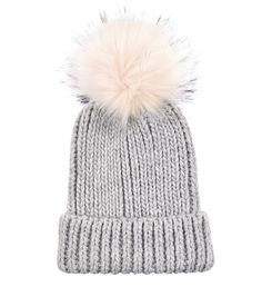 4fc82689720 Light Grey Faux Fur Pom Pom Hat