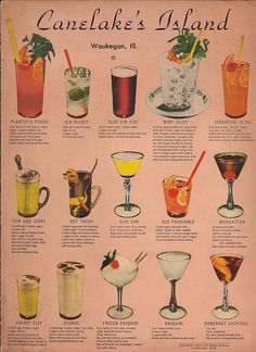 Vintage Cocktail Menu. I love how different & colorful these all look