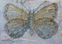 Delicately faint and vintage looking blue crackled butterfly ACEO, ATC 2 of 2 that comes in a set $15.00
