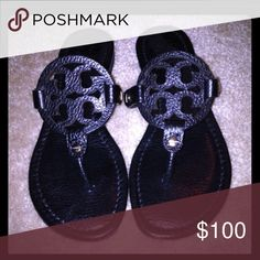 Black Pebbled Tory Burch Miller Logo Sandals sz 8 In excellent condition retails for 195 Tory Burch Shoes Sandals