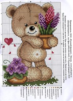Punto cruz... Ponto cruz... Point de croix... Punto Croce... Cross stitich... Kreuzstitch...: ursinhos