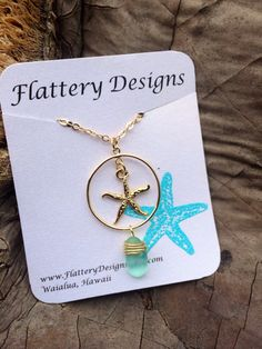 Gold Starfish and Sea Glass Necklace  by FlatteryDesigns on Etsy