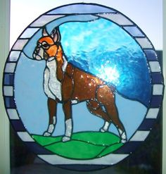 Boxer stained glass dog.