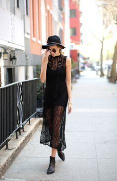 Maxi black lace transparent dress shoes hat. Summer street clothing women apparel @roressclothes closet ideas style ladies outfit fashion