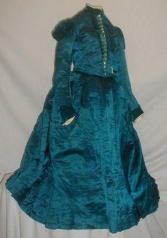 1880's satin and velvet young girl's dress.