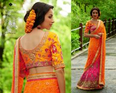 Look Beautiful on any Occasion in Orange and Pink Georgette Lehenga Style Saree with Heavy Silk and Brocade Blouse and Santoon Inner. Thread, Jari & Stone Work With Heavy Lace On Border.