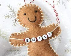Your place to buy and sell all things handmade Christmas decoration, Personalised Christmas Ornament, Gingerbread Man, personalised gingerbread man, tree decorations Handmade Christmas Decorations, Felt Decorations, Christmas Ornaments To Make, Christmas Sewing, Personalized Christmas Ornaments, Felt Ornaments, Christmas Projects, Holiday Crafts, Christmas Crafts