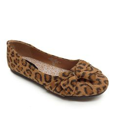 Look what I found on #zulily! Leopard Teshi Bow Flat by Little Angel #zulilyfinds