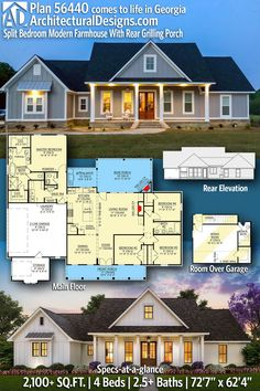 ADHousePlans Modern Farmhouse House Plan 56440SM gives you 4 bedrooms, 2.5 baths and 2100+ square feet. This open concept floor plan for the perfect 4 bedroom farmhouse features split bedrooms and plenty of privacy for the master suite.  Ready when you are! Where do YOU want to build? #56440SM #adhouseplans #country #modernfarmhouse #newamerican #architecturaldesigns #houseplans #architecture #newhome #newconstruction #newhouse  #homeplans #architecture #home #homesweethome New House Plans, House Floor Plans, 4 Bedroom House Plans, Sims, Open Concept Floor Plans, Modern Farmhouse Plans, House Layouts, Modern Bedroom, My Dream Home