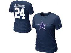 Women NEW Dallas Cowboys  24 CLAIBORNE Name   Number T-Shirt blue 8a7de62a8