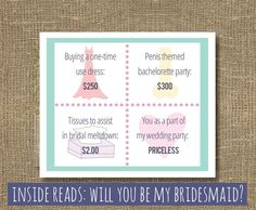 Ask Bridesmaid  Will You Be My Bridesmaid by RockCandieDesigns, $4.00