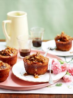 Pecan and maple friands recipe - By Woman's Day, These friands are delicious served with thick cream. Tea Cakes, Mini Cakes, Mini Desserts, Just Desserts, Friands Recipe, Sweet Recipes, Cake Recipes, Afternoon Tea Recipes, Small Cake