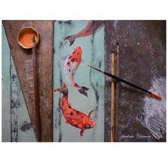 """""""METAMORPHOSES"""" : La carpe koï, illustrations et livre en cours de création (prochainement aux Ed. Le Seuil Jeunesse """"Beaux Livres"""" ... """"METAMORPHOSIS"""" : The carp... painting in progress by frederic"""