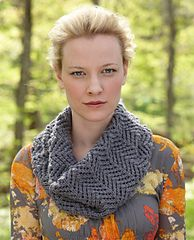 Cowl is worked for 14 inches in lace pattern on 16-inch circular needles. Written instructions.