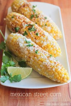 This Mexican street corn is so flavorful and could not be easier to make! www.thebakerupstairs.com