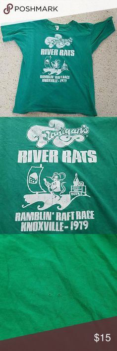 Vintage Race tshirt Very soft vintage race tshirt from the 1979 Ramblin' Raft Race in Knoxville, TN. Very slight wear, considering the shirt is older than I am. Two small holes in the back, probably from a race bib safety pin. Shirts Tees - Short Sleeve