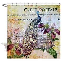 purple orchid birdcage peacock Shower Curtain