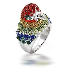 Silver Tone Multi Color Rhinestone Parrot Cocktail Ring available from Bling Jewelery on BRShops. Bling Jewelry, Jewelry Rings, Jewelery, Silver Jewelry, Jewelry Box, Silver Rhinestone, Cocktail Rings, Beautiful Rings, Fashion Rings