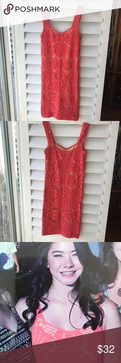 🍊NEW!🍊INTIMATELY FREE PEOPLE  Bodycon Dress EUC! Fab alert!! 🚨 This gorgeous Intimately Free People  dress was selected by my daughter to wear to her graduation! Size XS/ S. It's a stretchy bodycon with crochet styling and a knit underlayer (📸 pic.) Sweet neckline cut and pretty straps on this beauty of a dress! 😍 The color is a gorgeous orangey-coral. Don't miss it to dress-up with heels 👡👡 as my baby did or wear with havannas and a jeans jacket! The choice is yours! 🍊Enjoy! 🎉 Free…