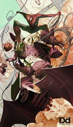 Spider-Man Vs Green Goblin by Mike Del Mundo