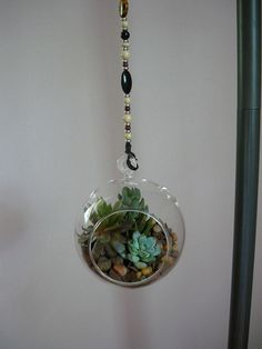 002 by Boxcroft Garden, via Flickr  Each hanging glass terrarium has it's own unique beaded or shell hanger