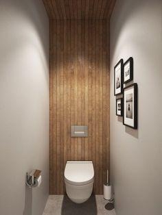 Small bathroom design idea with wooden accents Scandi